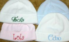 Personalized  Monogrammed Fleece Baby hat  3 by EchoEchoEmbroidery, $6.50