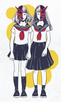 Oni Girls Sticker by Geni Riot - White Background - Japanese Demon Mask, Japanese Horror, Japanese Mask, Oni Art, Drawn Mask, Character Illustration, Illustration Art, Kitsune Mask, Mask Drawing