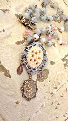 Shabby Chic Necklace Assemblage Religious by BerthaLouiseDesigns $32.95 including Free Gift Boxing.. Lovely Religious medals, and jasper beads..... #ReligiousMedals
