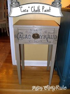 antique side table renewed with a little chalk paint amp graphics, chalk paint, home decor, painted furniture, Painted with Coco Chalk Paint and graphics from The Graphics Fairy added to the front