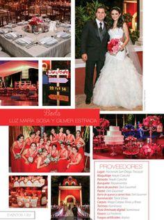 Boda en tonos de rojo de Luz María Sosa y Gilmer Estrada. Para más eventos, visita www.feztiva.com