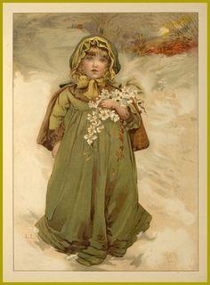 Vintage Victorian  merry Christmas winter princess