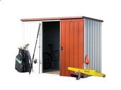 Duratuf Kiwi KL2 Garden Shed. The Kiwi KL2 is 2.545m wide x 1.210m deep and forms our premium range of steel garden sheds! This shed is NZ made from 0.4 gauge high tensile steel and features full internal timber framing and a sliding door!