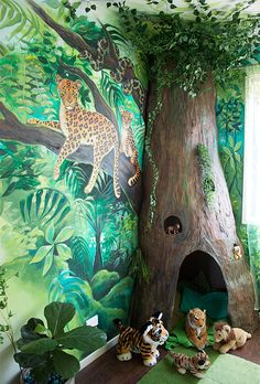 Home Decorating For Kids: My Daughter's Jungle Room Makeover! Home Decorating For Kids: My Daughter's Jungle Room Makeover! Boy Nursery Themes, Bedroom Themes, Nursery Room, Boy Room, Bedroom Ideas, Jungle Theme Rooms, Jungle Kids Rooms, Boys Jungle Bedroom, Jungle Baby Room