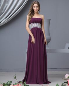 Sweetheart Chiffon Floor Length Bridesmaid Dress Gown-Love this! Would be beautiful with gold and burgundy