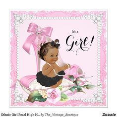 Ethnic Girl Pearl High Heel Shoe Baby Shower Invitation