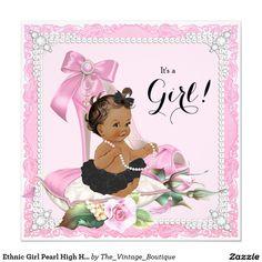 Ethnic Girl Pearl High Heel Shoe Baby Shower Invitation