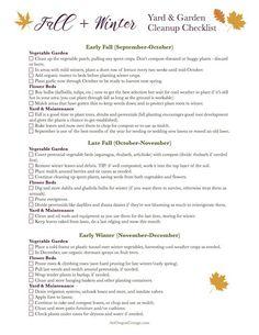 Free fall-winter garden and yard checklist