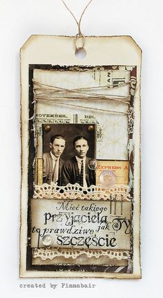 Love this heritage tag with fibers and a lace pocket to store the photo and memorabilia...a great page embellishment idea! - finnabair, via Flickr