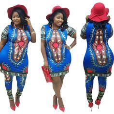 2016 dashiki autumn 2piece set women short sleeve long top dress and long pants sets sexy ensemble femme vestidos African