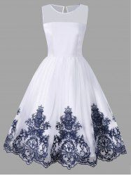 Sleeveless Flare Dress with Arab Embroidered - Cheap Fashion online retailer providing customers trendy and stylish clothing including different categories such as dresses, tops, swimwear. Source by Dennatiger - Cheap Graduation Dresses, White Homecoming Dresses, Dance Dresses, Short Dresses, Cheap Dresses, Pretty Dresses, Beautiful Dresses, Vintage Dresses Online, 1950s Dresses