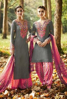 Appear stunningly stunning with this grey and pink cotton satin designer suit. This lovely dress is showing some unbelievable embroidery done with embroidered and print work. Comes with matching botto. Pakistani Dresses, Indian Dresses, Indian Outfits, Diwali Dresses, Designer Punjabi Suits, Indian Designer Wear, Indian Salwar Kameez, Salwar Suits, Churidar