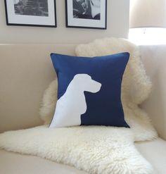 Cocker Spaniel Pillow Cover, English Cocker Spaniel Dog Silhouette Appliqué - Navy Blue & White- Modern - 18x18 20x20 20x24