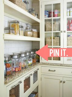 Glass canisters help a kitchen have an open and relaxed look. See Style Spotter Michael Wurm, Jr.'s picks here: http://www.bhg.com/blogs/better-homes-and-gardens-style-blog/2013/04/15/pin-it-get-it-glass-canisters/?socsrc=bhgpin041513glassjars