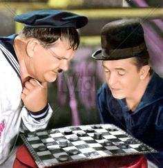 Oliver Hardy and Stan Laurel-In Laurel and Hardy began sharing screen time… Laurel And Hardy, Stan Laurel Oliver Hardy, Great Comedies, Classic Comedies, Classic Movies, Classic Hollywood, Old Hollywood, Chess For Children, Lauren Hardy
