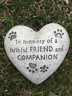 HEART SHAPED PAW PRINT DOG MEMORIAL GARDEN STONE STATUE grave marker headstone - http://pets.goshoppins.com/pet-memorials-urns/heart-shaped-paw-print-dog-memorial-garden-stone-statue-grave-marker-headstone/