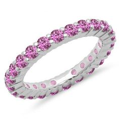 Share for $20 off your purchase of $100 or more! 1.00 Carat (ctw) 14K White Gold Round Pink Sapphire Ladies Eternity Wedding Anniversary Stackable Ring Band - Dazzling Rock #https://www.pinterest.com/dazzlingrock/