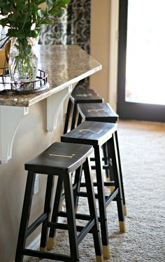 DIPPED AND NUMBERED BARSTOOLS {PINTEREST CHALLENGE}
