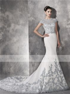 Embroidery Lace Applique Short Sleeve Satin Mermaid Gown Embroidery,Satin Deven Wedding Dress