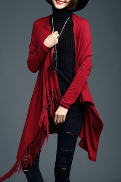Bstn Wine Red Asymmetric Fringe Cardigan | Cardigans at DEZZAL Click on picture to purchase!
