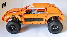 You have to take two Porsches, bigger wheels, some Power Functions motors, S-Brick, mix it all together and here is result: terrain rallye car with all-wheel. Lego Technic Sets, S Brick, Lego Construction, Big Wheel, Lego Moc, Legos, Monster Trucks, Lego Ideas, Vehicles