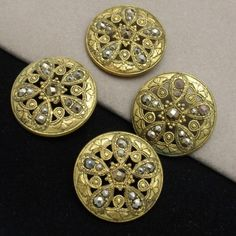 "Lot of 4 Vintage Buttons Ornate Goldtone with Marcasites 1 1 4"" | eBay"