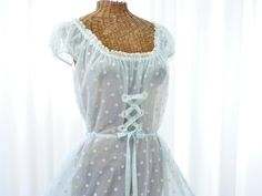 587d4f2faf Odette Barsa Nightgown 1950 s Deliciousness  Corset Tie Up Front Swiss  Dotted Voile