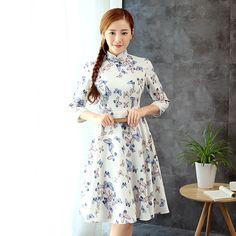 Delightful Butterflies Print Cheongsam Qipao Skirt Dress - Qipao Cheongsam &…