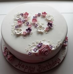 This is really cute #LessIsMore... 80th birthday cake, via Flickr. - I would totally make this for my grandma if I learn how to do the flowers before she turns 90.  (Luckily, I have a few more years.)