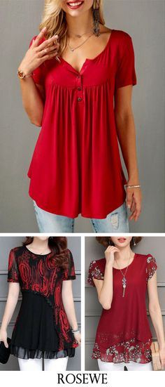 Red Short Sleeve Split Neck Curved Blouse.#Rosewe#red#top