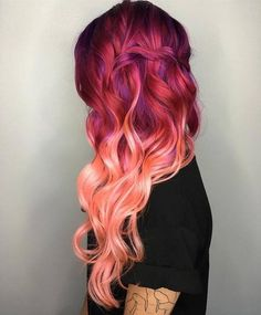 Rosa Haare 2019 - Beatiful rose red ombre wavy hair style dyed by - Frauen Frisuren Red Ombre Hair, Pink Hair, Peach Hair, Blonde Hair, Red Purple Hair, Fiery Red Hair, Blonde Dye, Blonde Streaks, Lavender Hair