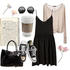Outfit #22 - Beige Sweater - Black Crochet Dress - Black Converse...i'd wear different shoes probably but overall a cute outfit