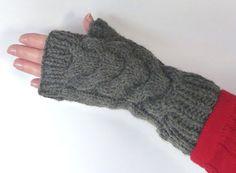 Knit Cable Fingerless Gloves Women Texting by LaraineRoseHandiWorx