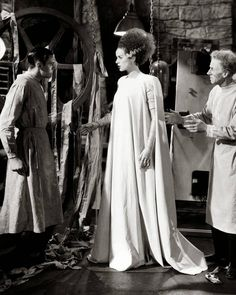 These are the most gorgeous bridal gowns to grace the silver screen. FRANKENSTEIN', 1931 Mae Clarke in a long-sleeve gown by costume designer Vera West. IT HAPPENED ONE NIGHT, 1934 Claudette Colbert in a short-sleeve silk dress with a. Movie Wedding Dresses, Wedding Dress Costume, Wedding Movies, Wedding Scene, Movie Costumes, Cool Costumes, Halloween Costumes, Halloween Ideas, Costume Ideas