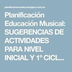 Planificación Educación Musical: SUGERENCIAS DE ACTIVIDADES PARA NIVEL INICIAL Y 1º CICLO-El Sonido