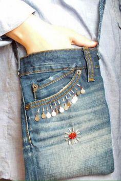 Models of old jeans - Diy Wallet Jean Crafts, Denim Crafts, Upcycled Crafts, Jean Diy, Denim Purse, Denim Bags From Jeans, Jeans Denim, Diy Jeans, Jeans Pants