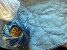 Big Stitch hand quilting in progress, using cotton perle thread. © Stephanie Boon, 2015 www.DawnChorusStudio.com