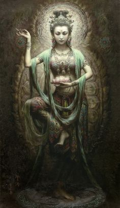 Compassion and Wisdom in action.     Art painting by Zeng Hao Chinese 1963  the goddess of mercy Guan Yin.