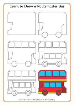 Learn to draw a London/Routemaster Bus from Activity Village (printable)
