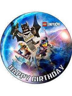 "Lego Dimensions 7.5"" Round personalised birthday cake topper printed on icing"