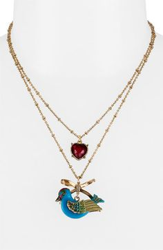 Betsey Johnson 'Flights of Fancy' Bird Charm Necklace | Nordstrom