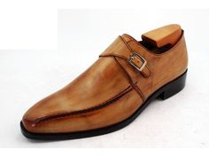 hand-colored made-to-measure single buckle monk strap shoes