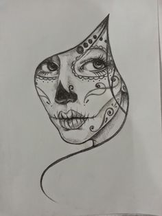 Resultado de imagem para black and white sugar skull girl tattoo Sugar Skull Mädchen, Sugar Skull Girl Tattoo, Girl Skull, Sugar Tattoo, Sugar Skull Drawings, Cool Skull Drawings, Sugar Skull Painting, Pencil Art Drawings, Drawing Faces