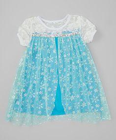 Look at this #zulilyfind! Blue Snowflake Short-Sleeve Dress - Toddler & Girls by Just Couture #zulilyfinds