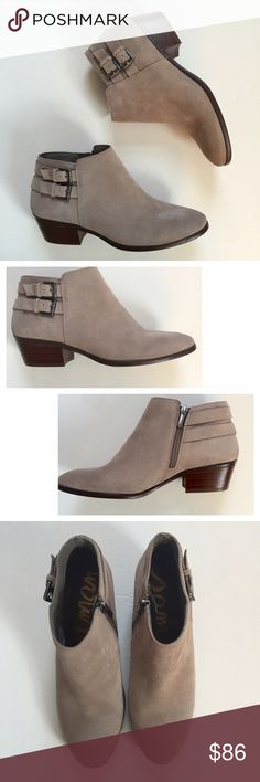 """Sam Edelman Suede Petal Booties New with tags/without box. Side zipper closure. Double straps with buckle detail. Almond toe. Low, stacked heel of 1 3/4"""". Color is greige (gray/beige). Perfect color to wear even when the weather starts warming up. ❌NO TRADES❌NO PAYPAL❌ Sam Edelman Shoes Ankle Boots & Booties"""