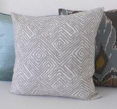 Gray geometric key pattern decorative pillow by pillowflightpdx