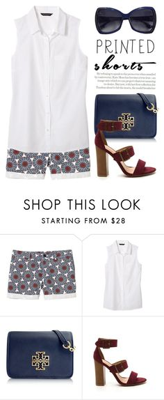 """""""Prints Charming: A Shorts Story 1855"""" by boxthoughts ❤ liked on Polyvore featuring Banana Republic, Tory Burch, Fendi, Topshop and printedshorts"""