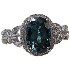 Natural Zircon & Diamond Engagement Birthstone Ring 14K