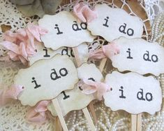 I Do Wedding Cupcake Toppers w/ribbons by auntiesjammies on Etsy