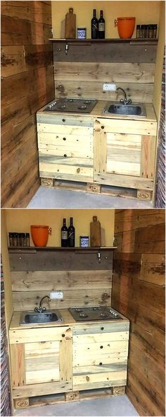 we would like to share an idea for the kitchen. Here is a pallet sink with the drawers and storage space below the sink. It is a great idea for the kitchen which is not much spacious, it can be created in large size as well according to the space available in the kitchen and can be painted as well.